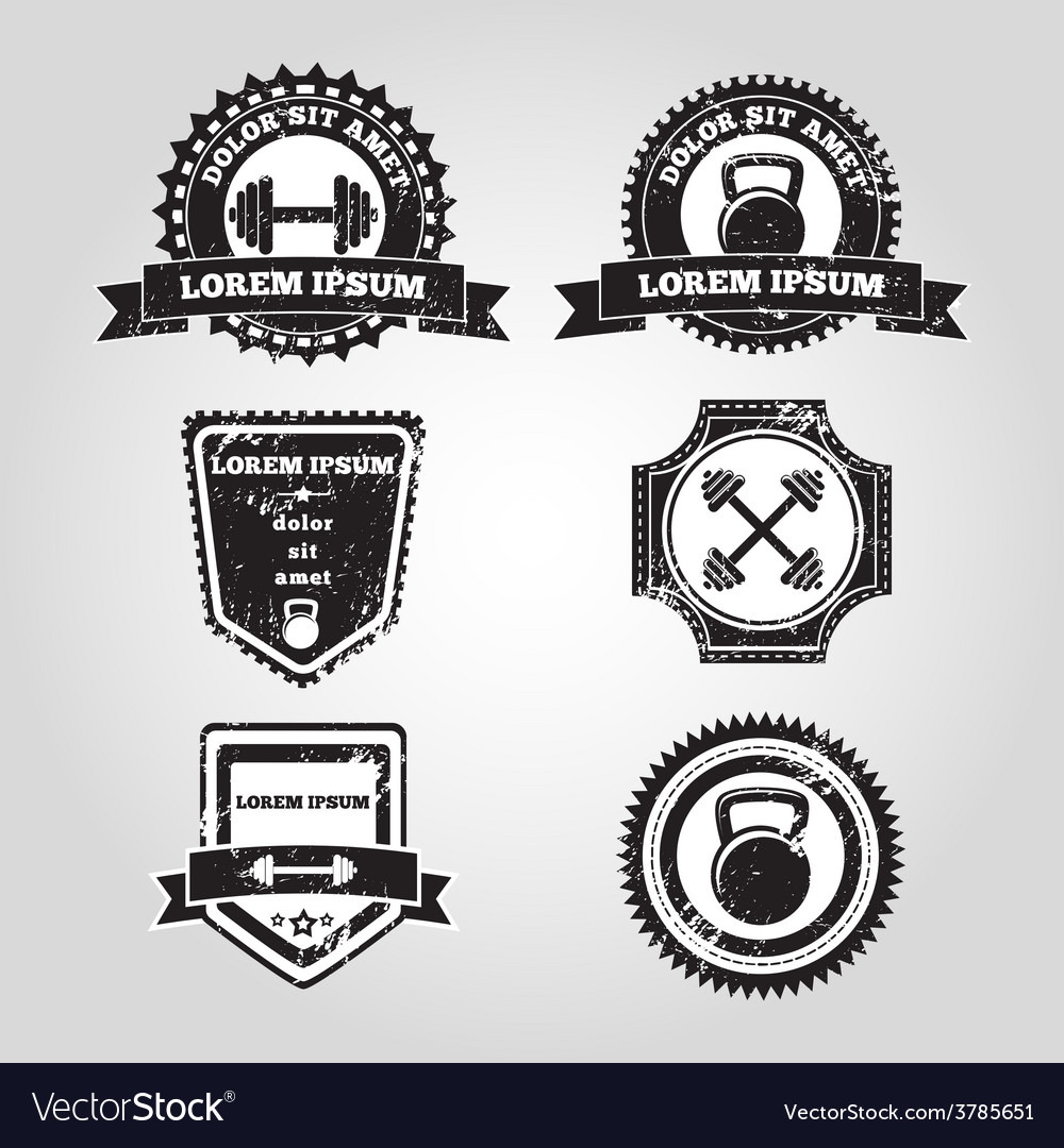Gym emblems vector