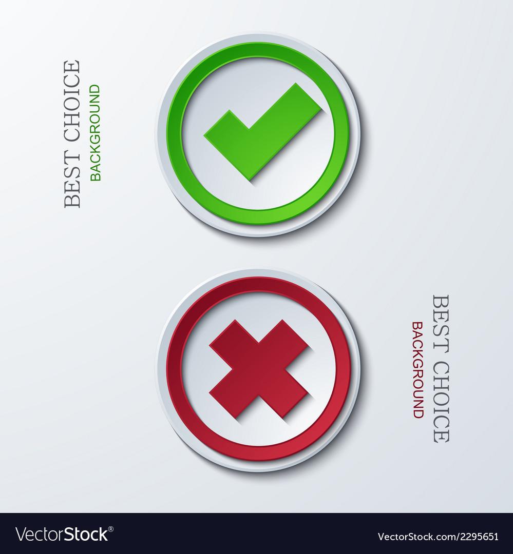 Yes or no circle icons vector