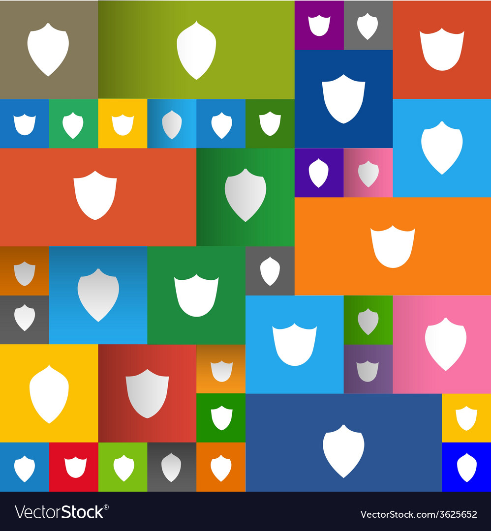Set of modern shields on the flat panels vector