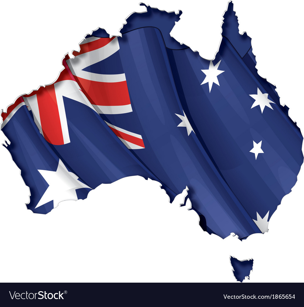 Australian map flag vector