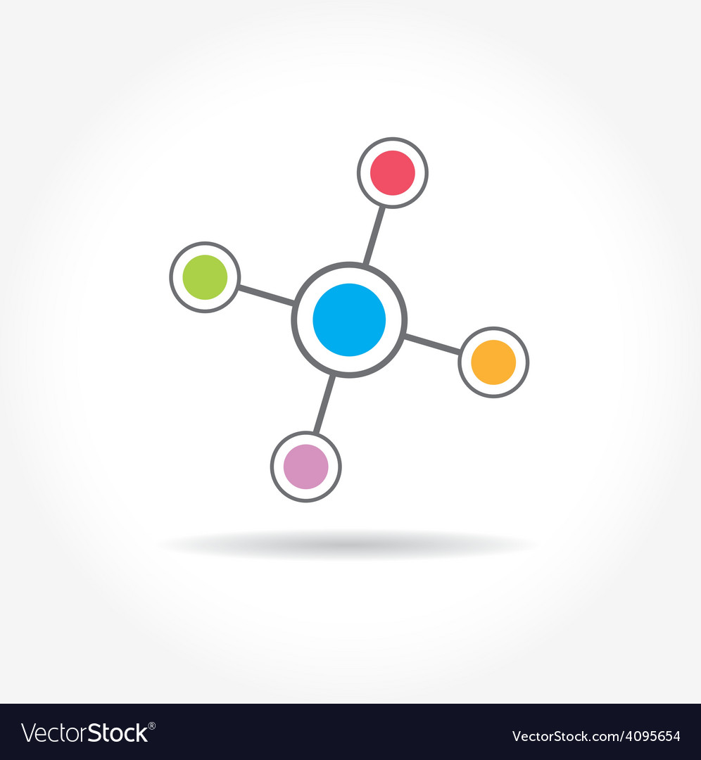 Network color technology communication icon vector