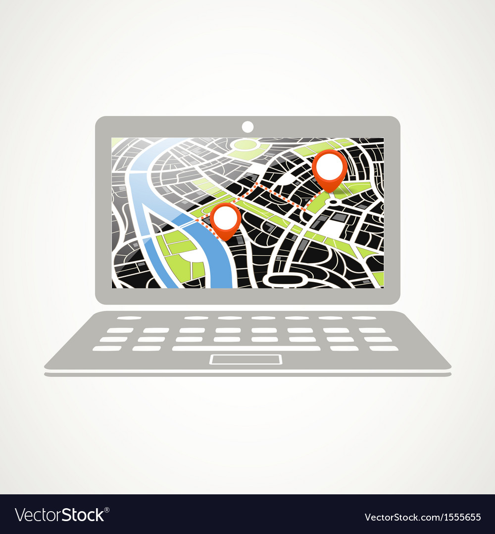 Modern laptop with abstract city map vector