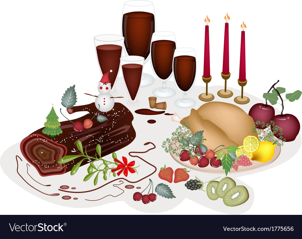 A turkey at a traditional christmas dinner vector