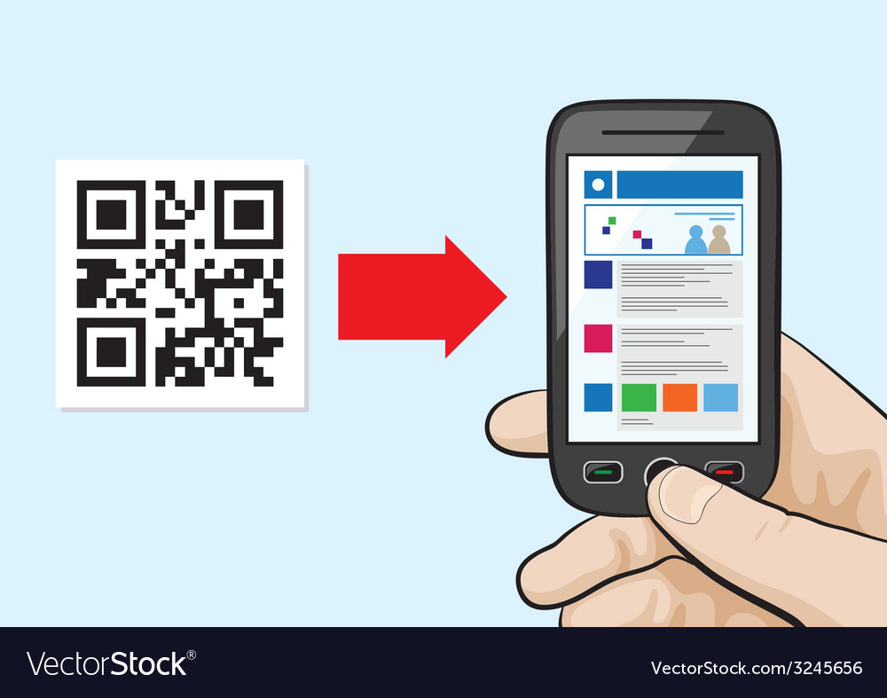 Scanning qr code with website hyperlink inside vector
