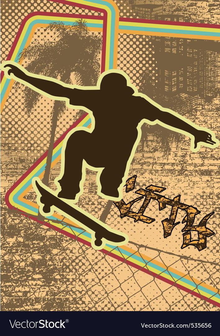 Vintage urban grunge skate vector