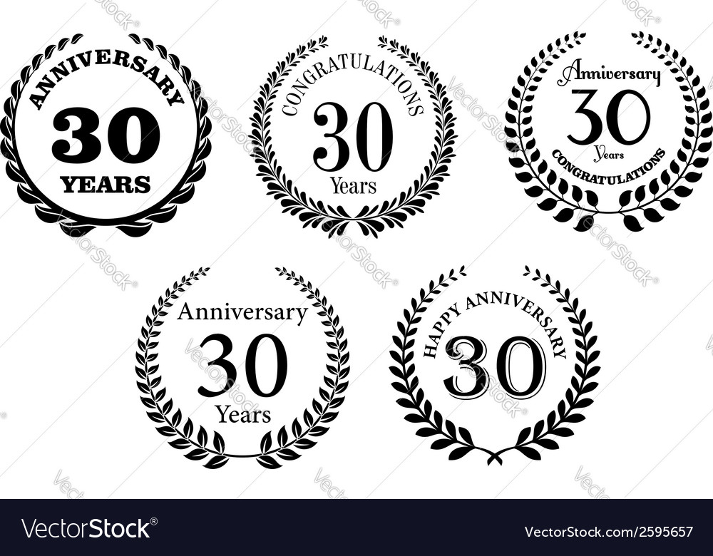 Black and white anniversary laurel wreaths vector