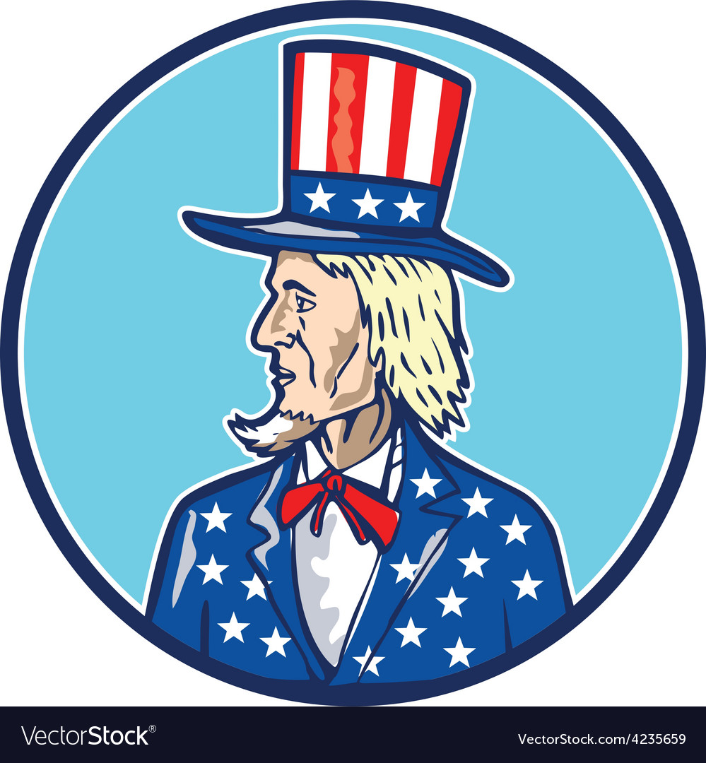 Uncle sam top hat american flag cartoon vector