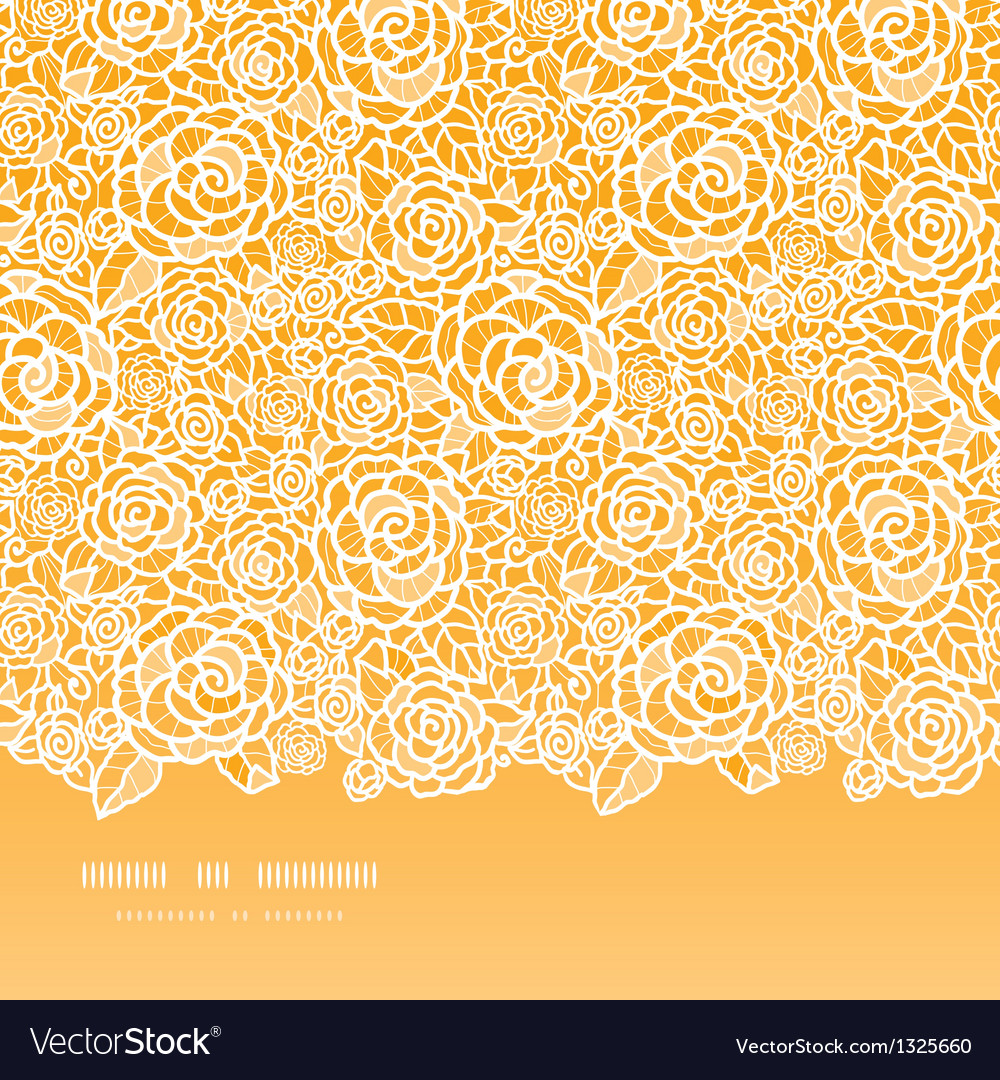 Golden lace roses horizontal seamless pattern vector