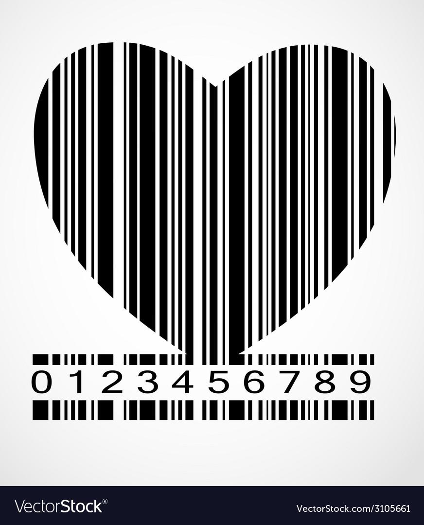 Barcode heart image vector