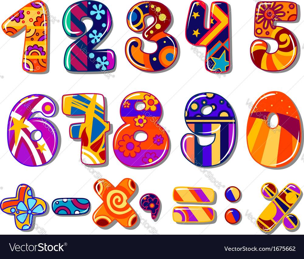 Cartoon colourful school numbers vector