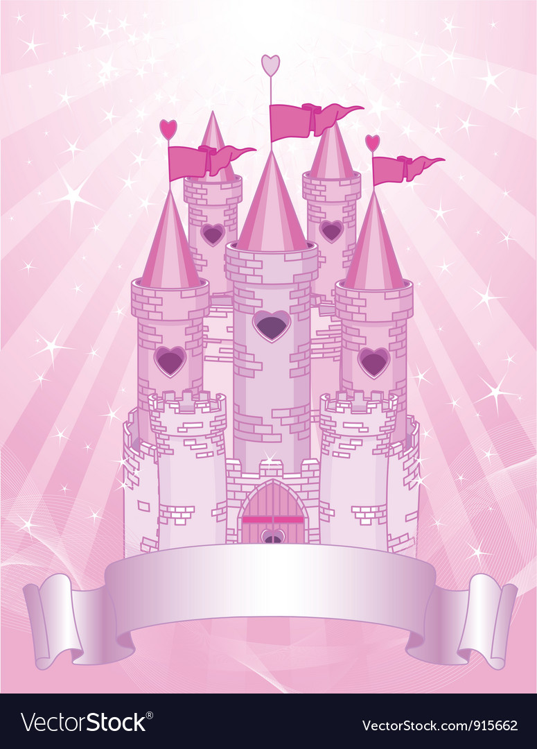 Pink castle place card vector