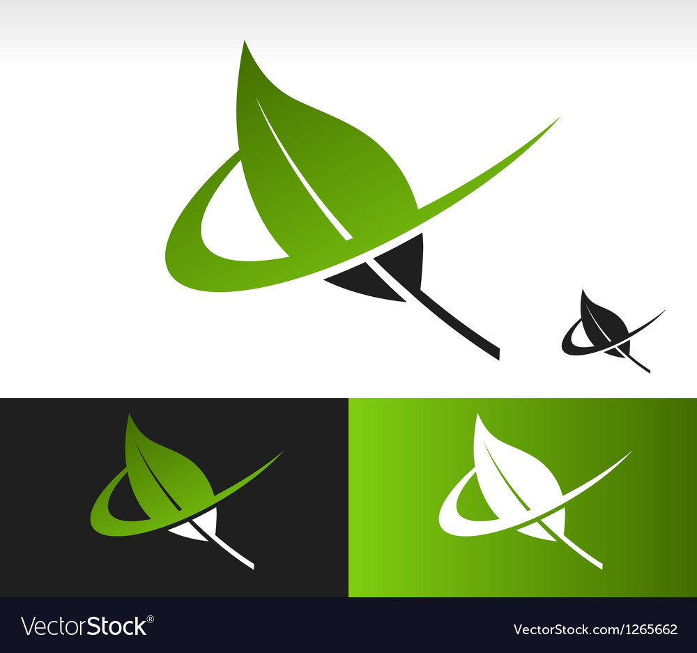 Swoosh green leaf logo icon vector