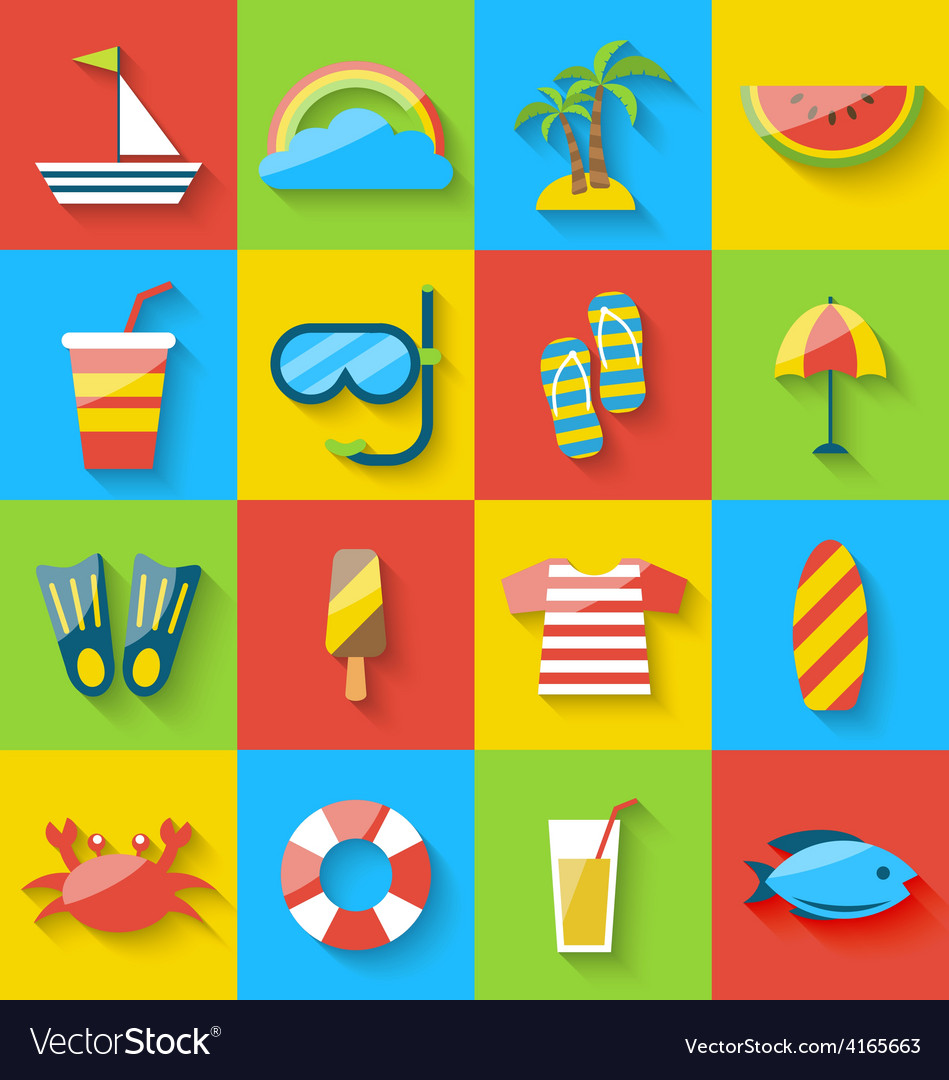Flat icons of holiday journey summer symbols sea vector