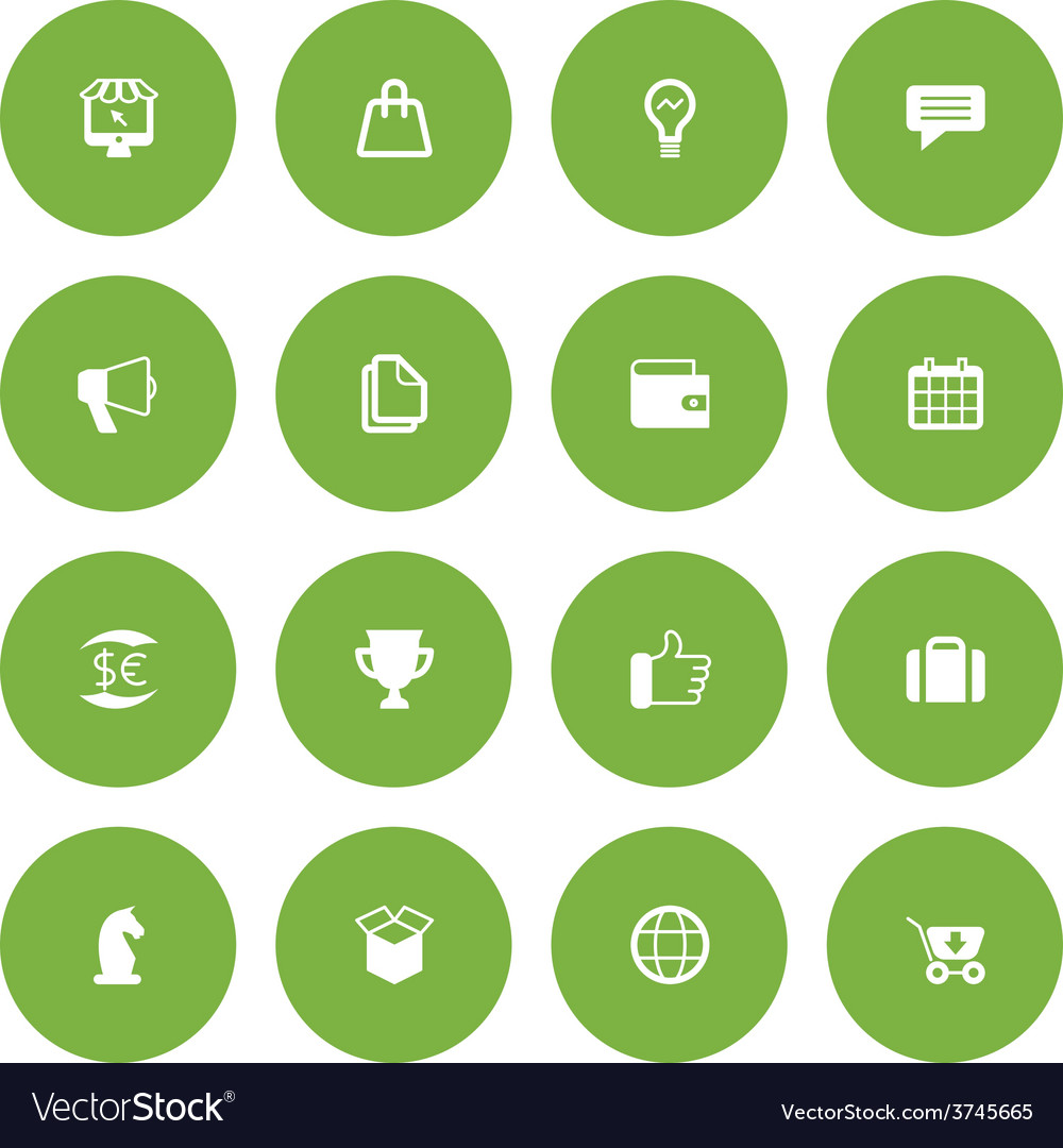 Flat icon set for web and mobile business and vector