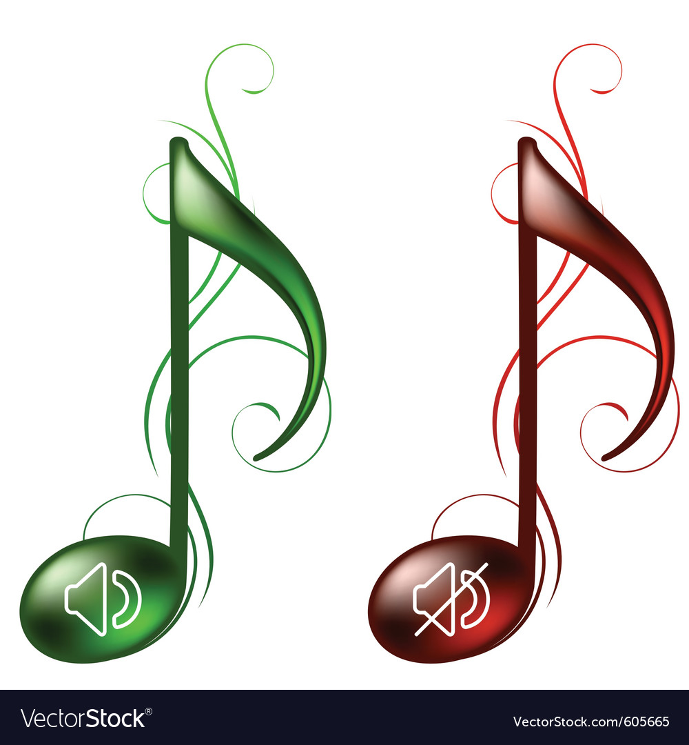 Music icons sound on and off vector