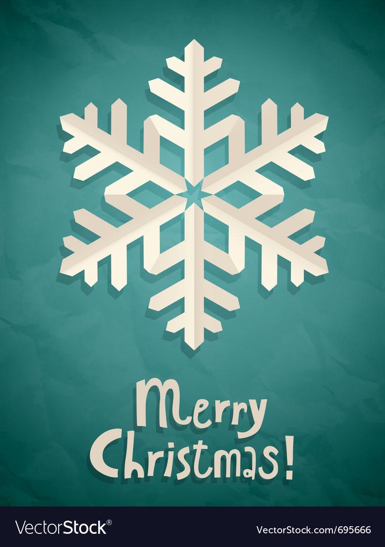 Christmas postcard with snowflake vector