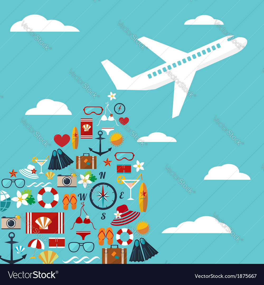 Airplane with summer symbols vector