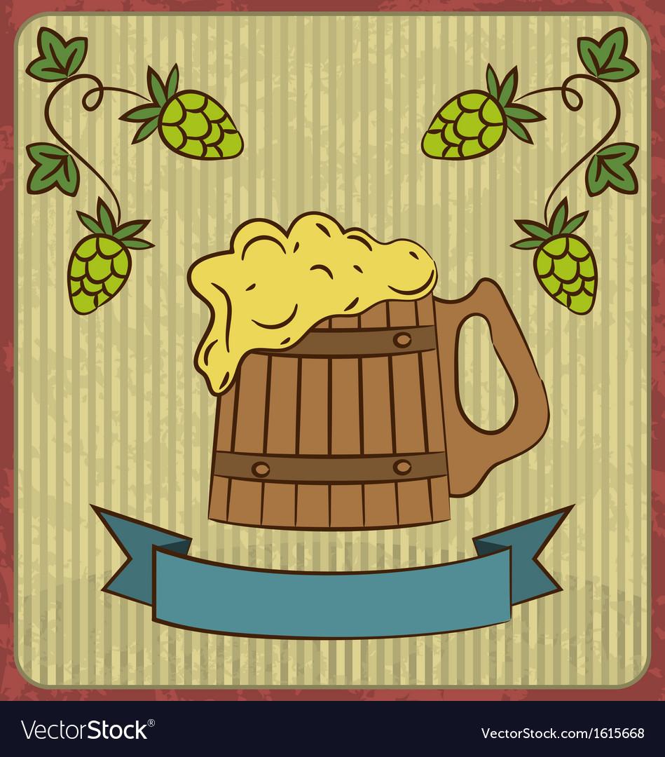 Vintage card with wooden mug beer vector