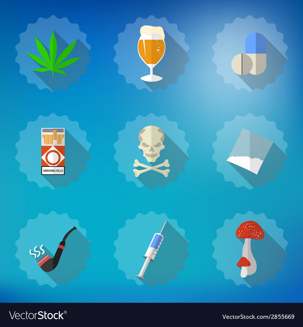 Bad habits flat icon set include beer alcohol vector