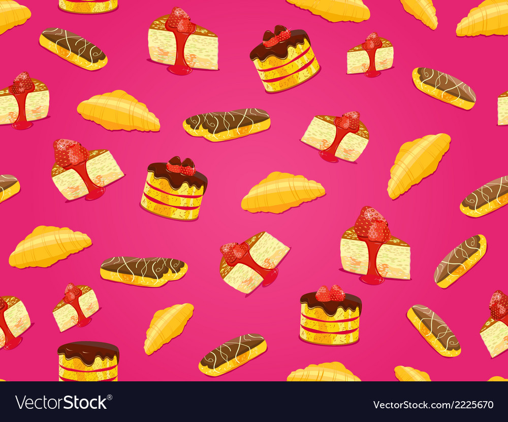 Seamless pattern with cake croissant and eclair vector
