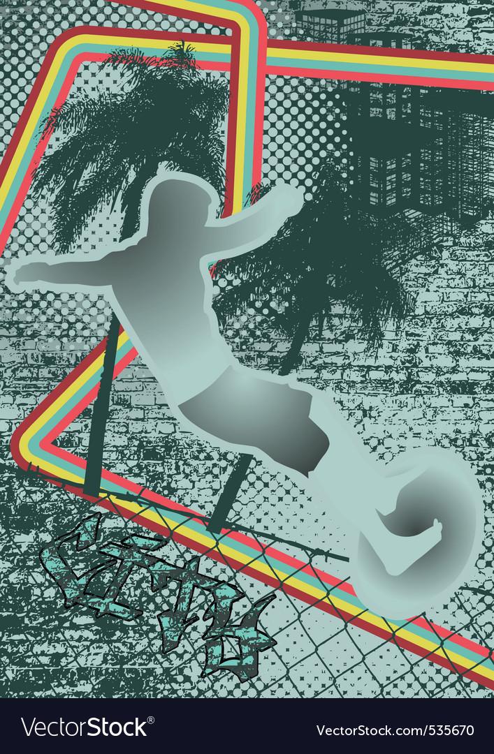 Vintage urban grunge surfer vector