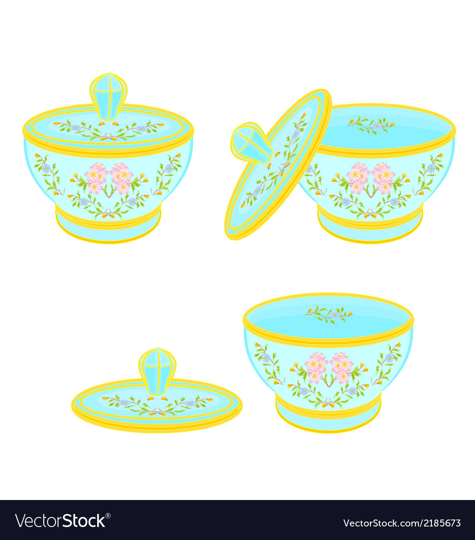 Sugar bowl with lid with floral pattern part tea vector