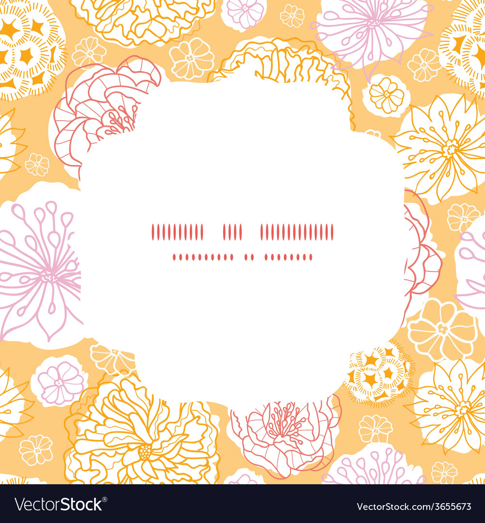 Warm day flowers circle frame seamless pattern vector