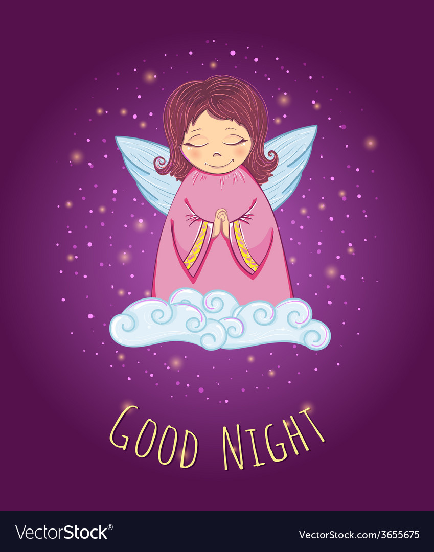 Good night angel vector