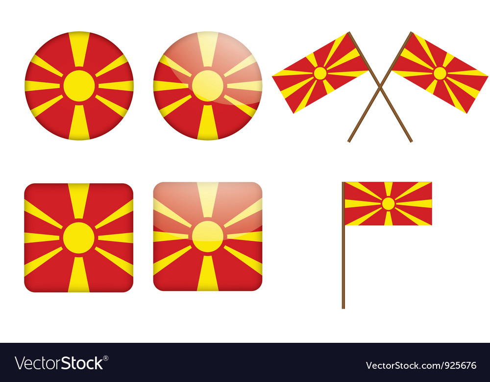 Badges with flag of macedonia vector