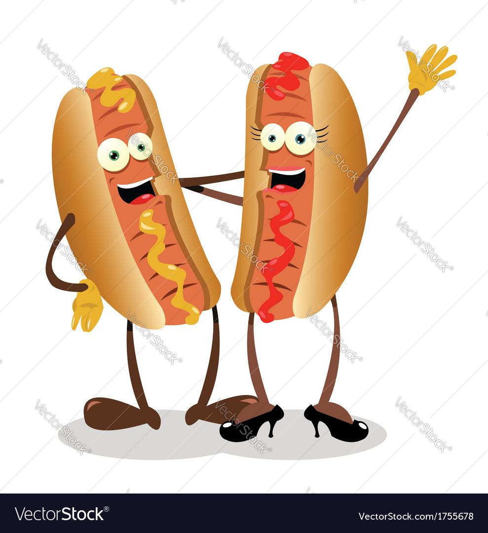 Hot dog couple vector