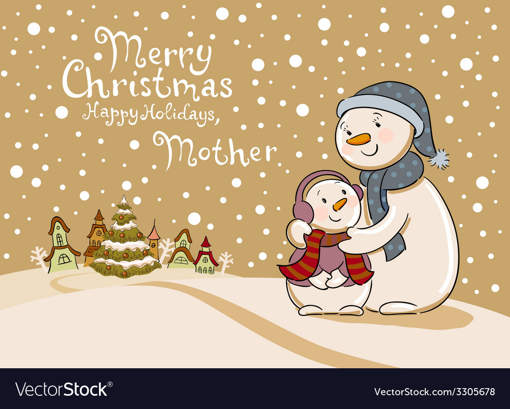 Mum the snowman cares of her child vector