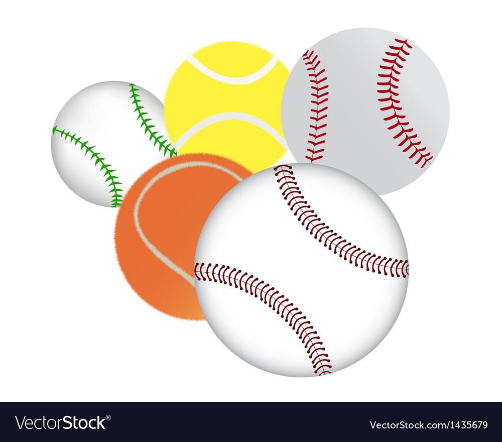 Tennis and baseballs vector