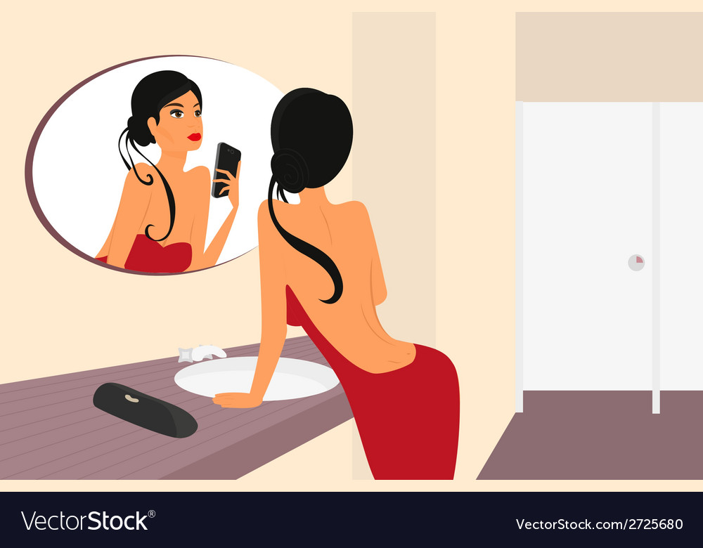 Funny selfie of brunette sensual woman with mirrow vector