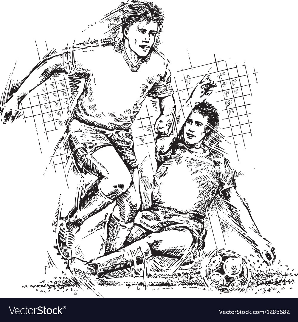 Drawing of soccer players vector