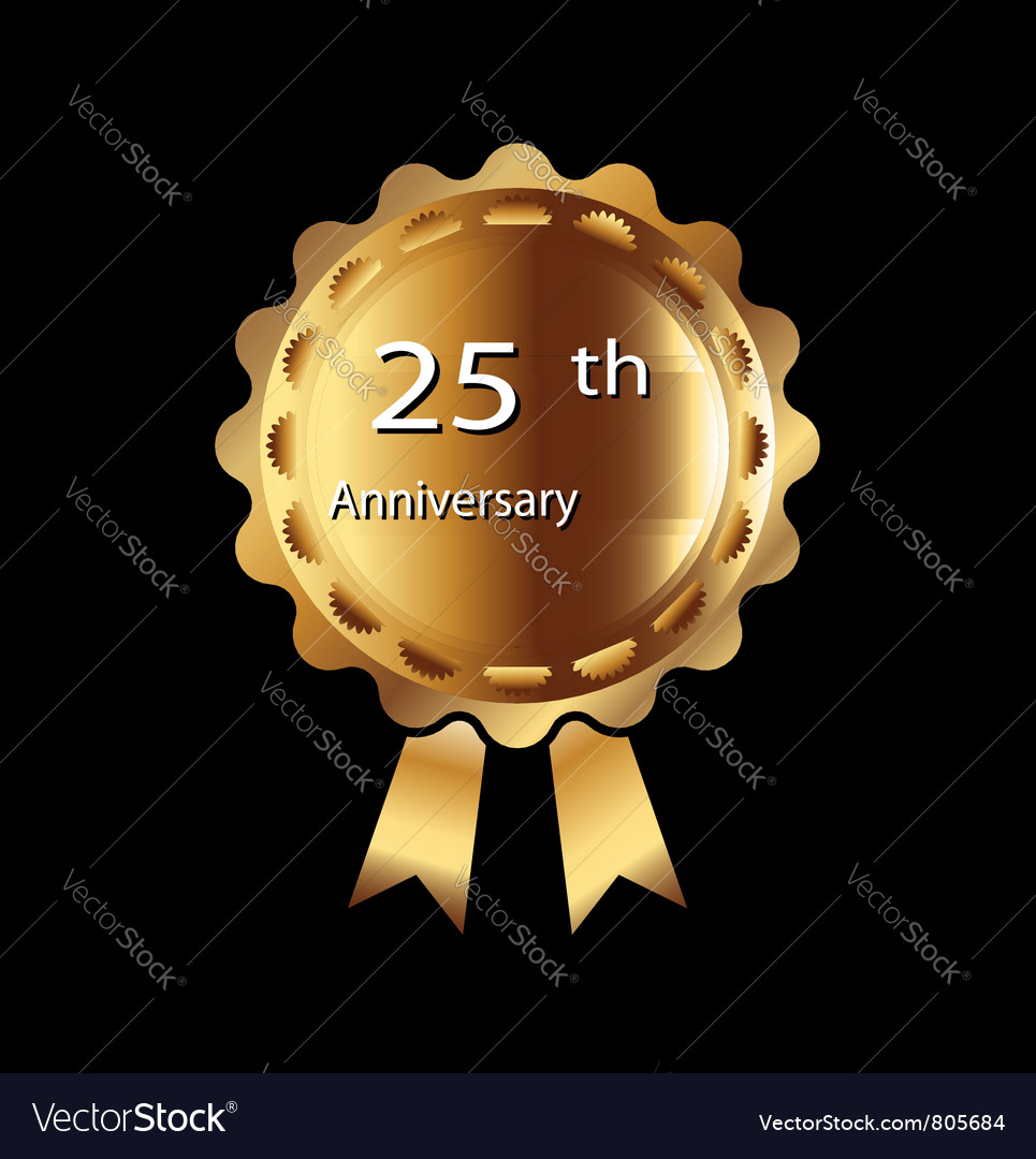 25th anniversary ribbon vector
