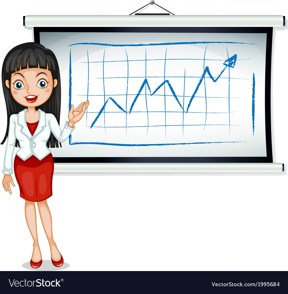 A formal lady in front of the bulletin board vector
