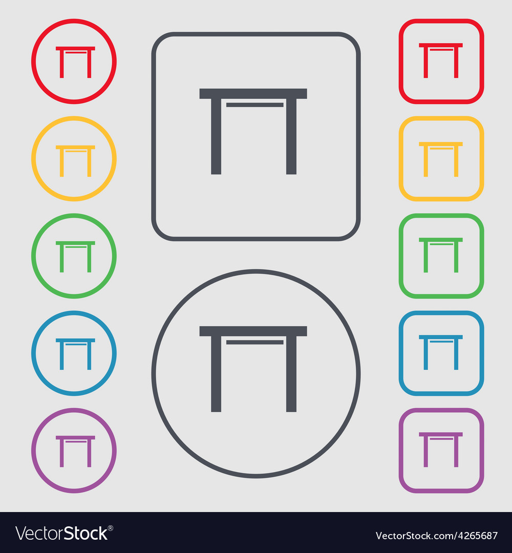 Stool seat icon sign symbol on the round and vector