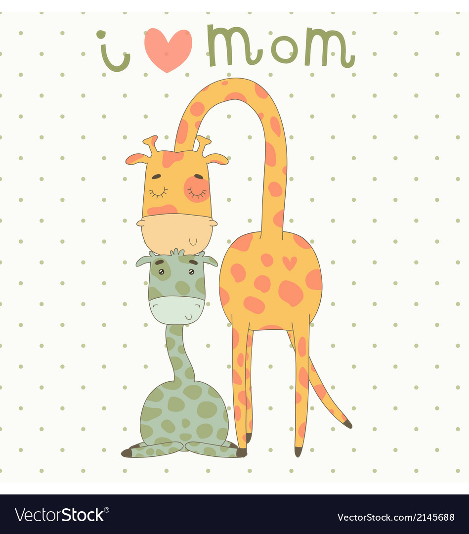 Greeting card for mothers day with cute giraffes vector