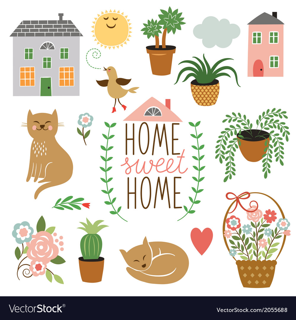 Home sweet home set of drawings vector