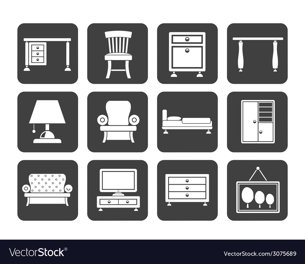 Silhouette home equipment and furniture icons vector