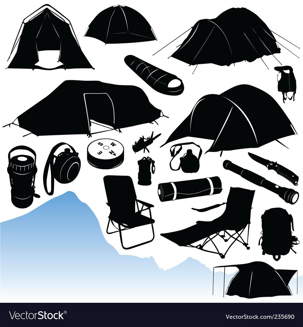 Camping equipments vector