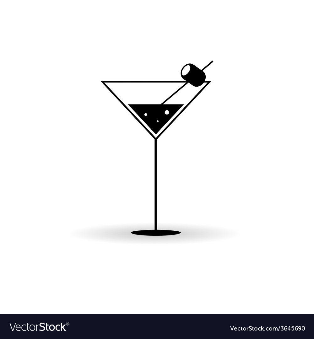Martini with olives in a glass vector