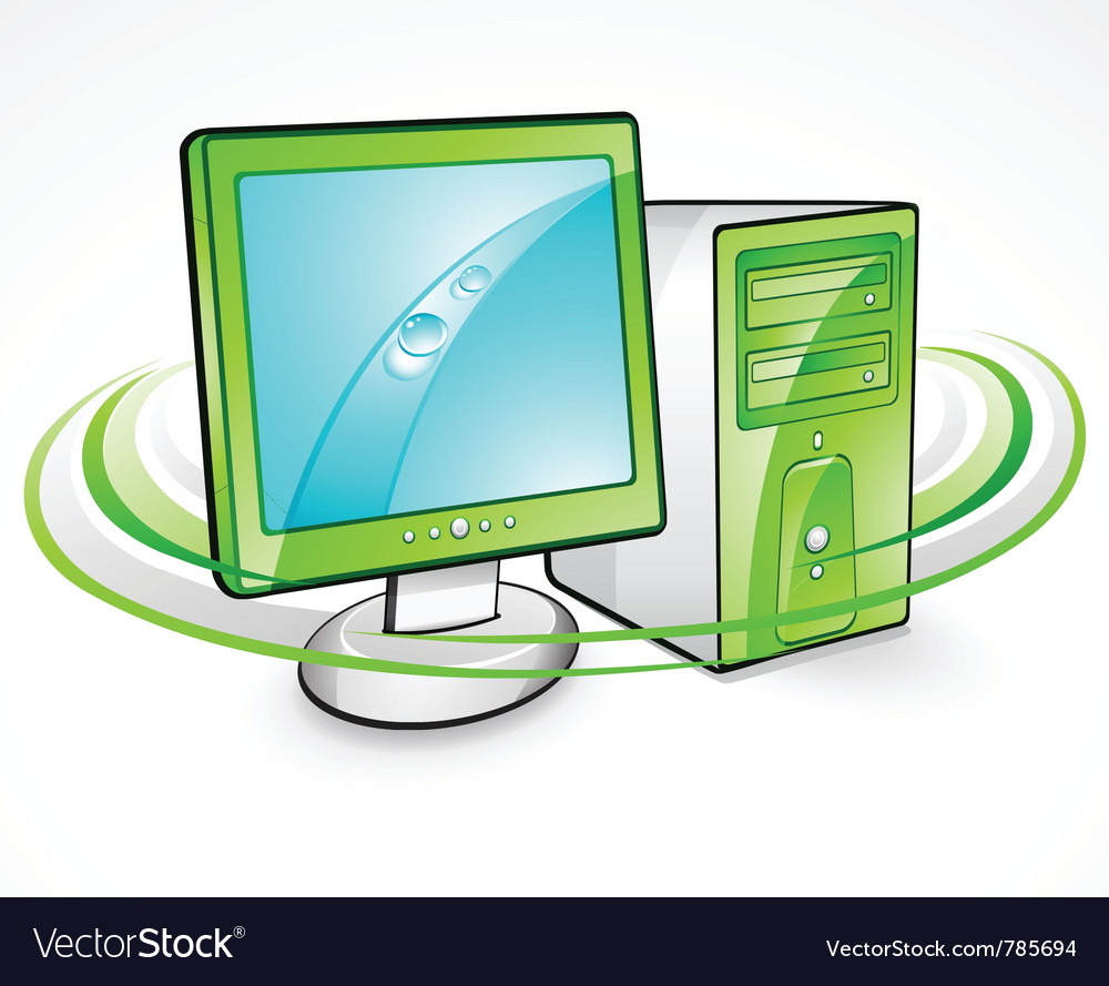 Computer and monitor vector