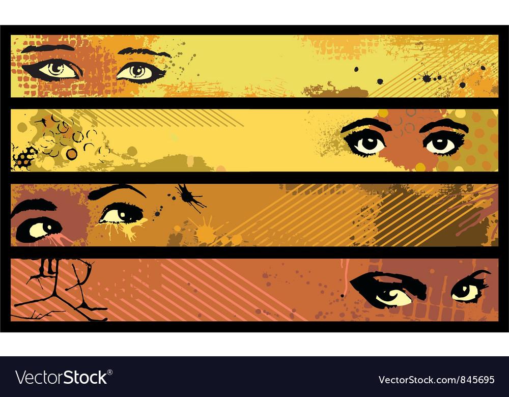 Banner set eye vector