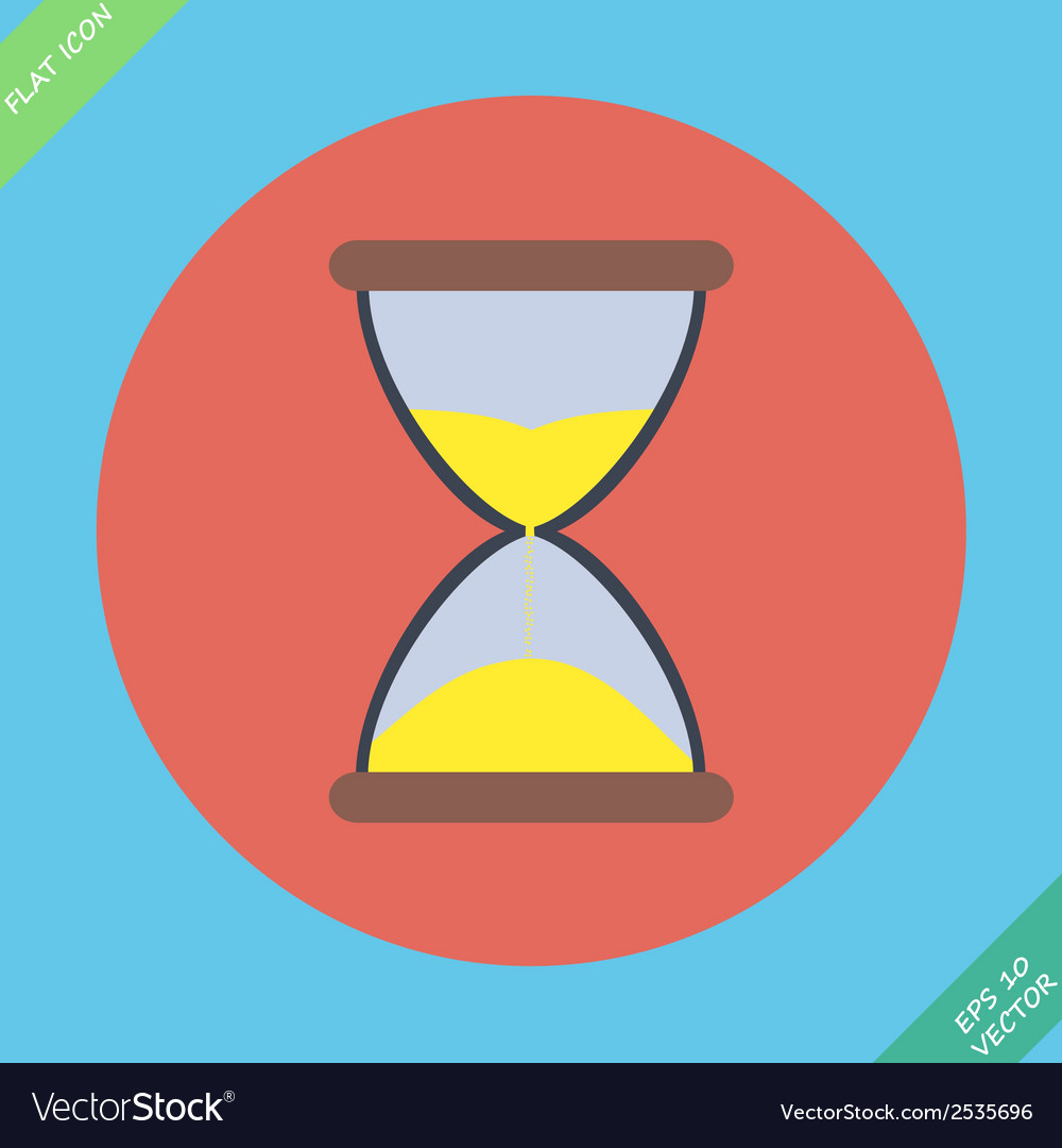 Sand flowing inside hour glass vector