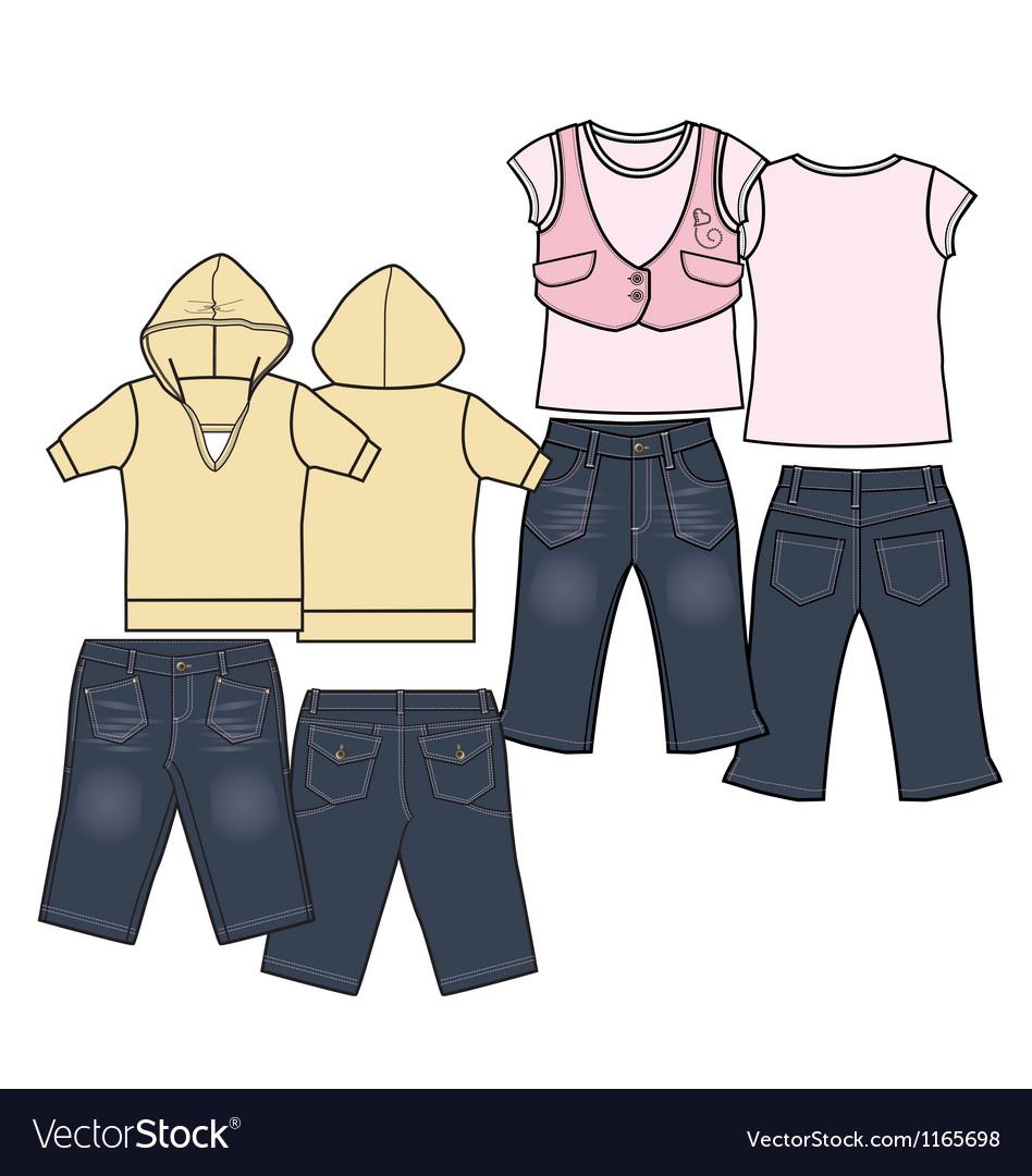 Girls fashion casual wear set vector
