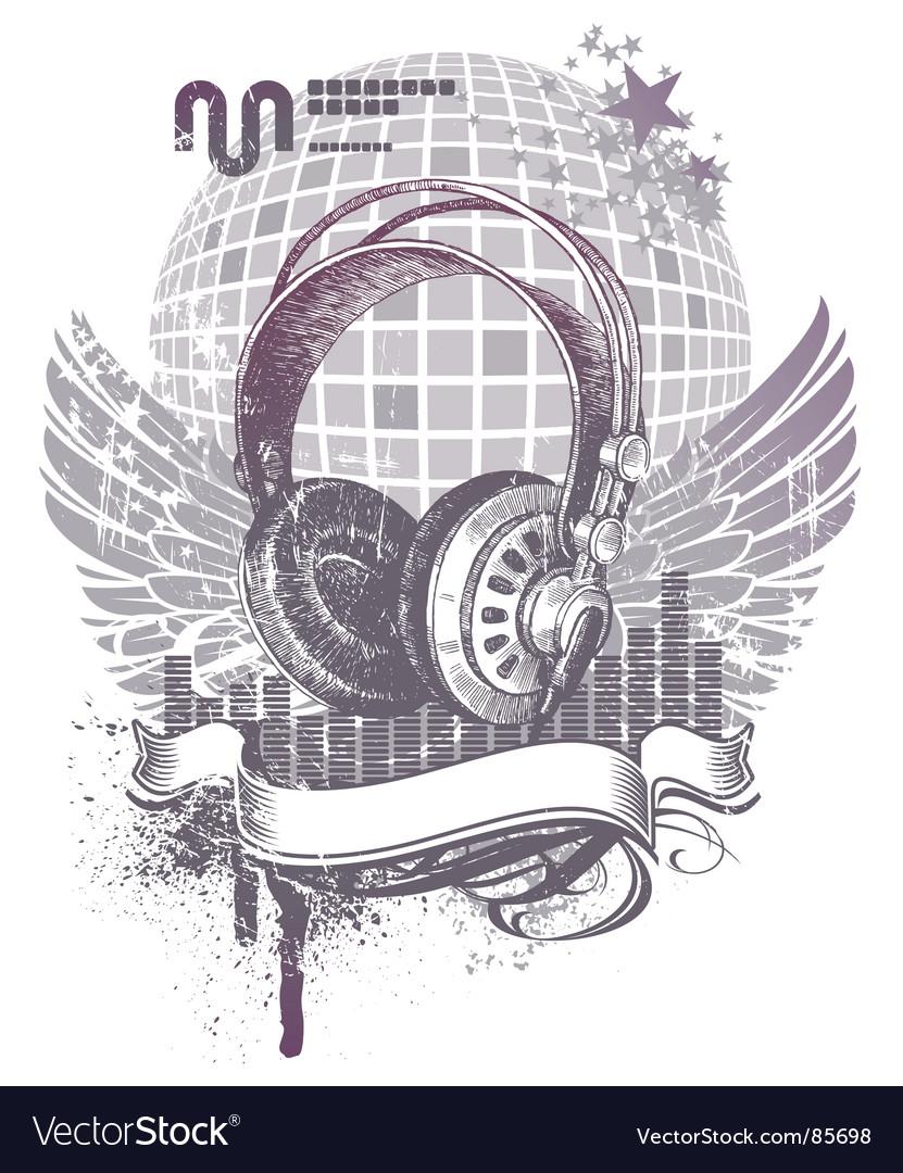 Heraldry with headphones vector