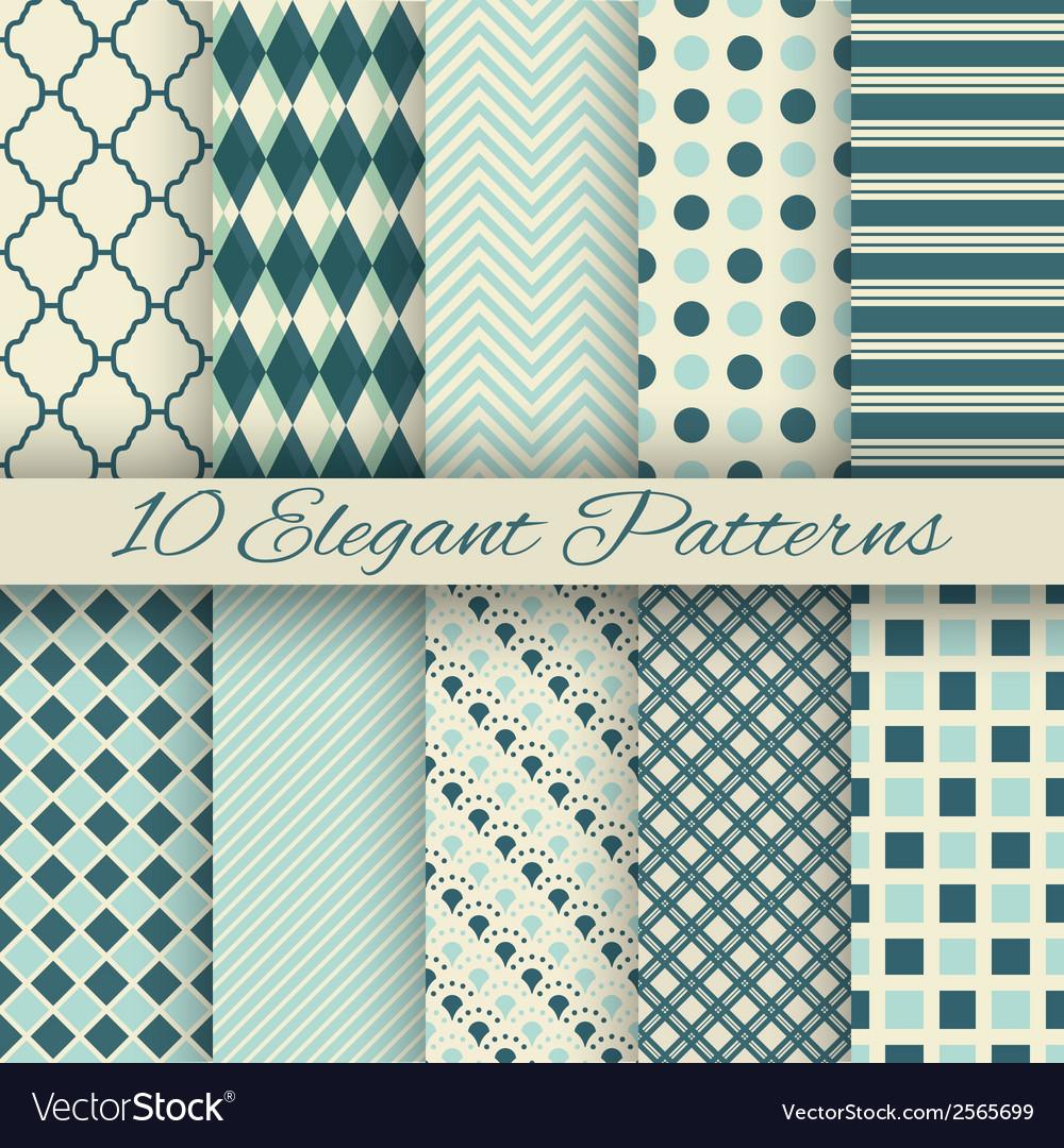 10 elegant seamless patterns tiling vector