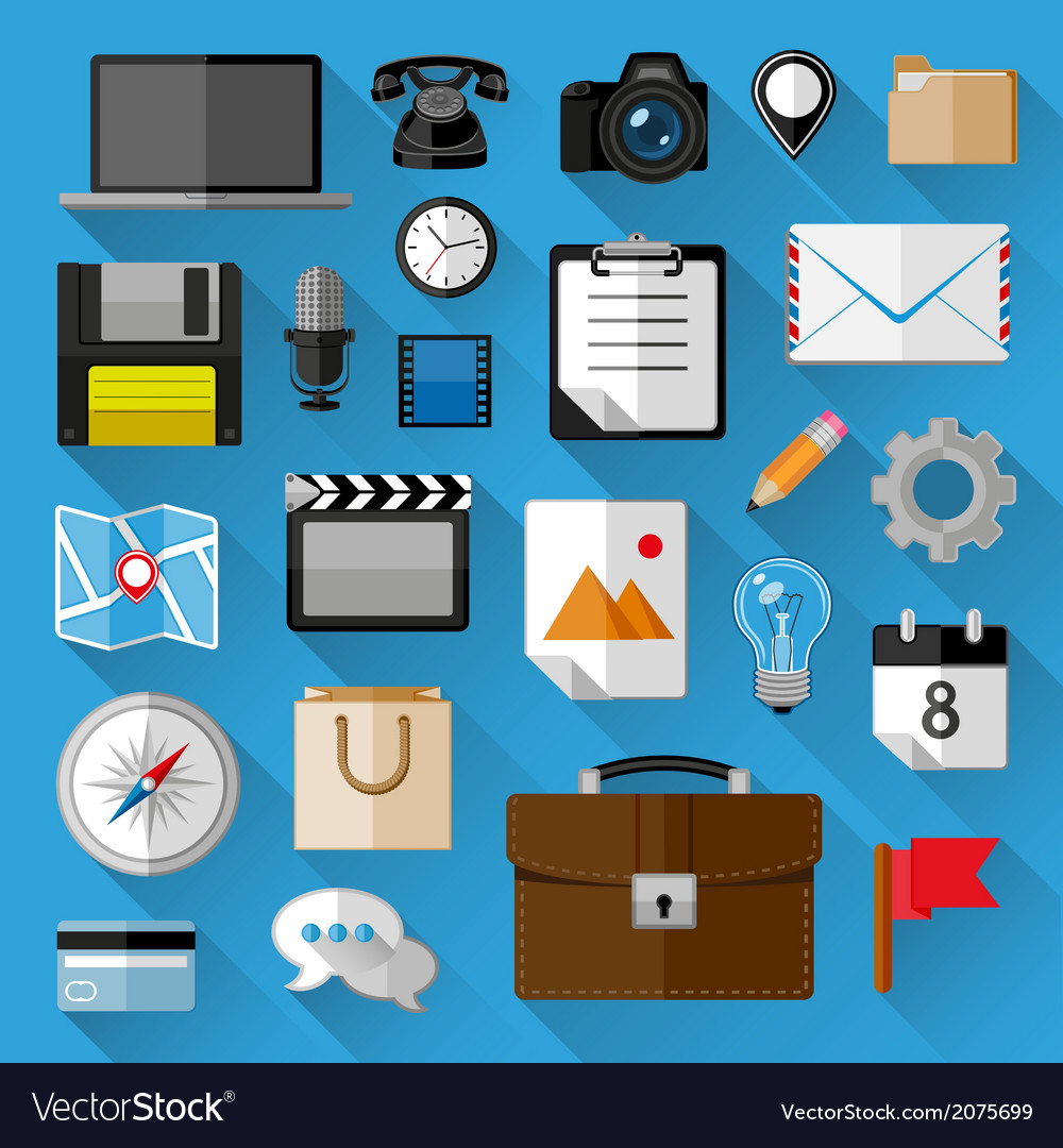 Flat icons bundle vector