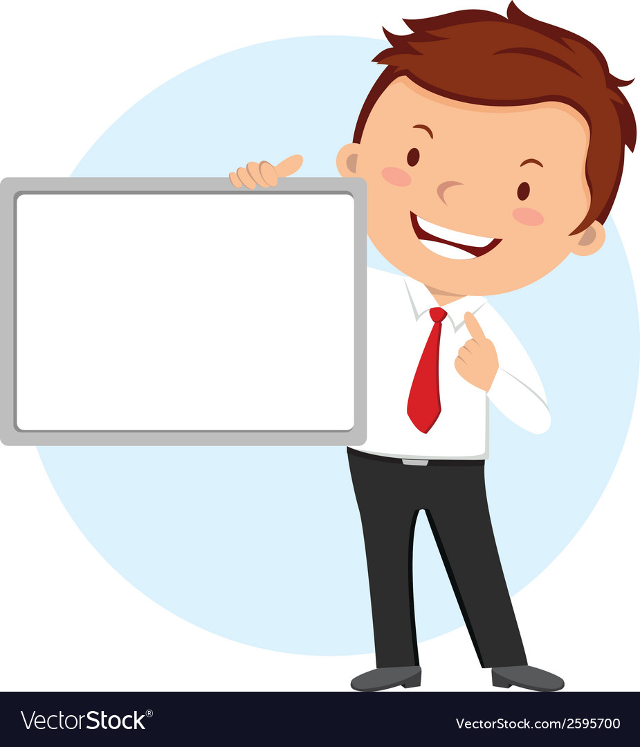 Man holding whiteboard vector
